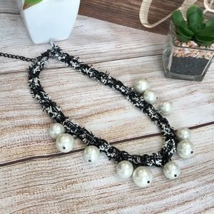 """✨ I.N.C. Pearl Fabric-Weaved Collar Necklace 18"""""""